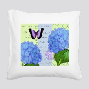 MODERN VINTAGE hydrangea Square Canvas Pillow